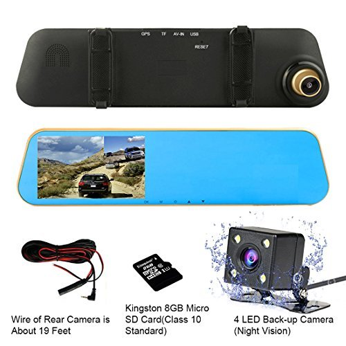 "TENNBOO 4.3"" Full HD Dual Lens Rearview Mirror Car Dash Cam"